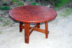coffee table leather top voorhees craftsman mission oak furniture accurate replica gustav