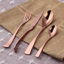 modern silverware architecture rose gold flatware set golfocd com