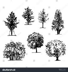 vector trees set isolated on white stock vector 501799888