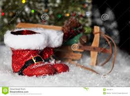 santa boots and sleigh stock photo image of trees christmastime