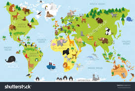 Seven Continents Map Funny Cartoon World Map With Traditional Animals Of All The