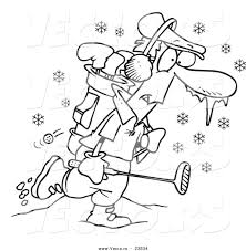 vector of a cartoon winter golfer coloring page outline by