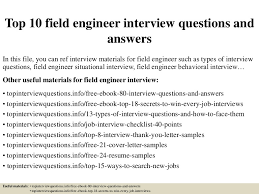 Field Engineer Resume Sample by Top 10 Field Engineer Interview Questions And Answers