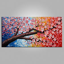 Bedroom Wall Canvases Bedroom Wall Art Flower Painting Acrylic Painting Heavy Texture