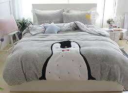 Penguin Comforter Sets Full Size Cartoon Penguin Pattern Grey Soft 4 Piece Fluffy Bedding