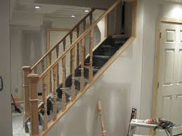basement stair railing install unique shaped decoration fence