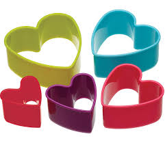 set of bright coloured plastic cookie cutters by bakes