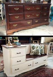 diy old dresser into a gorgeous bench with storage drawers u0026 a