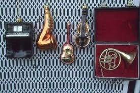 lot 5 blown glass musical instruments piano guitar harp ornaments