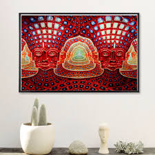 psychedelic alien face canvas art print painting poster wall