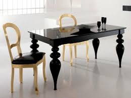 Black High Gloss Living Room Furniture Black Or White Lacquer Dining Table Gold Or Silver Leaf Chairs