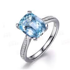 aquamarine diamond ring myray aquamarine engagement ring cushion cut gold vintage