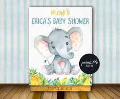 elephant baby shower welcome sign printable elephant welcome