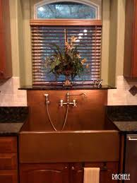 Copper Sinks With Integral Back Splashes By Rachiele - Apron sink with backsplash