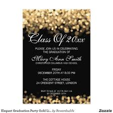 Shop Invitation Card Elegant Graduation Party Gold Lights Card Elegant Gold