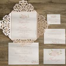 blush and gold wedding invitations blush pink floral laser cut wedding invites ewws077 as low