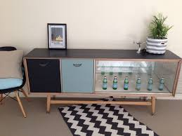 Blonde Bedroom Furniture 1950 Upcycled Painted Retro Sideboard Black Duck Egg Blue U0026 Blonde Wood