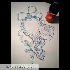 rose and mirror tattoo design beauty and the beast tattoo design