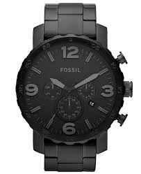 black bracelet mens watches images Fossil men 39 s chronograph nate black tone stainless steel bracelet tif