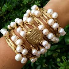 bangle bracelet with pearl images Pretty in pearls monogram wire wrapped bangle bracelet with pearls jpg