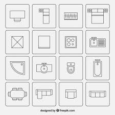 Furniture For Floor Plans Furniture Symbols Used In Architecture Plans Vector Free Download