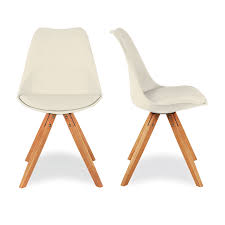 Eames Style Chair by Charles Eames 2x Style Cream Dining Chair With Pyramid Style Solid
