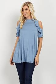 cold shoulder tops blue ruffle cold shoulder maternity top