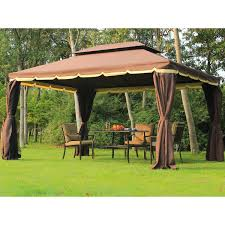 outsunny 10 u0027 x 13 u0027 aluminum outdoor garden gazebo with curtains