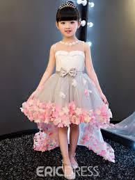 flower dress ericdress hi lo 3d floral flowers bowknt flower girl dress