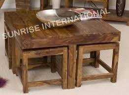 sheesham möbel collection on ebay sheesham wood wooden coffee table with 4 stools ebay