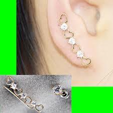 ear pin hearts and dots clip ear pin asymmetric set 2 pieces