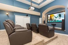 Awesome Basement Home Theater Ideas - Living room with home theater design