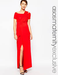 asos bardot maxi dress with one shoulder in red lyst
