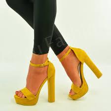 womens ladies platform high block heel strappy sandals ankle strap