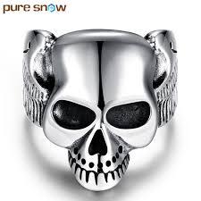mens skull wedding rings snow trendy mens boys ring silver plated 316l stainless steel
