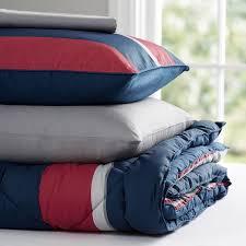 Navy Stripe Comforter Set Block Stripe Value Comforter Set Navy Red Pbteen