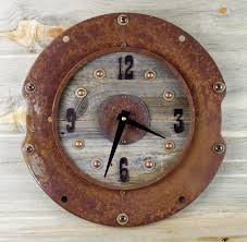 3 industrial wall clock rustic home decor rusted metal clock