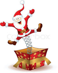 santa claus picture christmas santa claus jumping out of the box stock vector