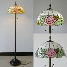 Julian Apothecary Floor Lamp Awesome Country Style Pink Rose Green Leaf Motif Tiffany Lighting