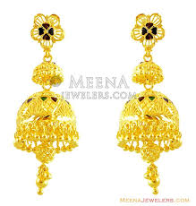 fancy jhumka earrings 22k meenakari jhumka earrings erfc14249 22kt gold chandelier