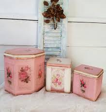 pink u0026 white shabby cottage decorative canister sets kitchen