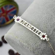 Name Charm Bracelet Custom Birthstone Name Bracelet In Silver Cut Out Nameplate Charm