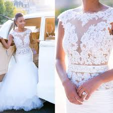mermaid cap sleeves lace appliques wedding gowns 2017 tulle open