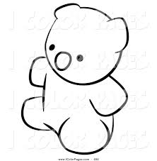 vector coloring page of a black and white human factor teddy bear