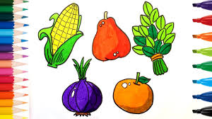 how to drawing and coloring fruits and vegetables k coloring