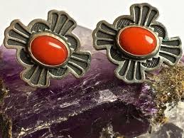 post type earrings don lucas sterling silver cross with coral center post