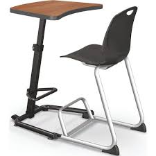 adjustable height student desk and chair with black pedestal frame up rite student height adjustable sit stand desk amber cherry