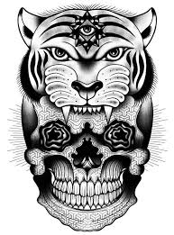 illuminati eyed tiger and geometric patterned skull tattoo design