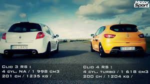 drag race renault clio 4 rs vs clio 3 rs cup motorsport youtube