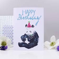 happy birthday u0027 panda party hat card by olivia morgan ltd